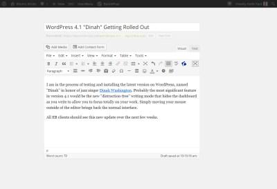 distraction-free post editor