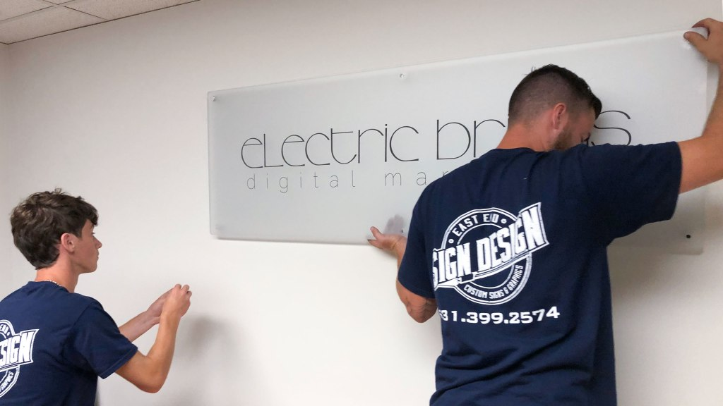Electric Bricks sign installation