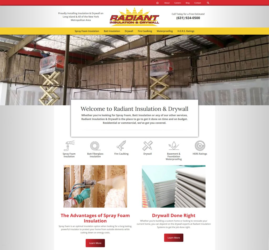website design for Radiant Insulation & Drywall