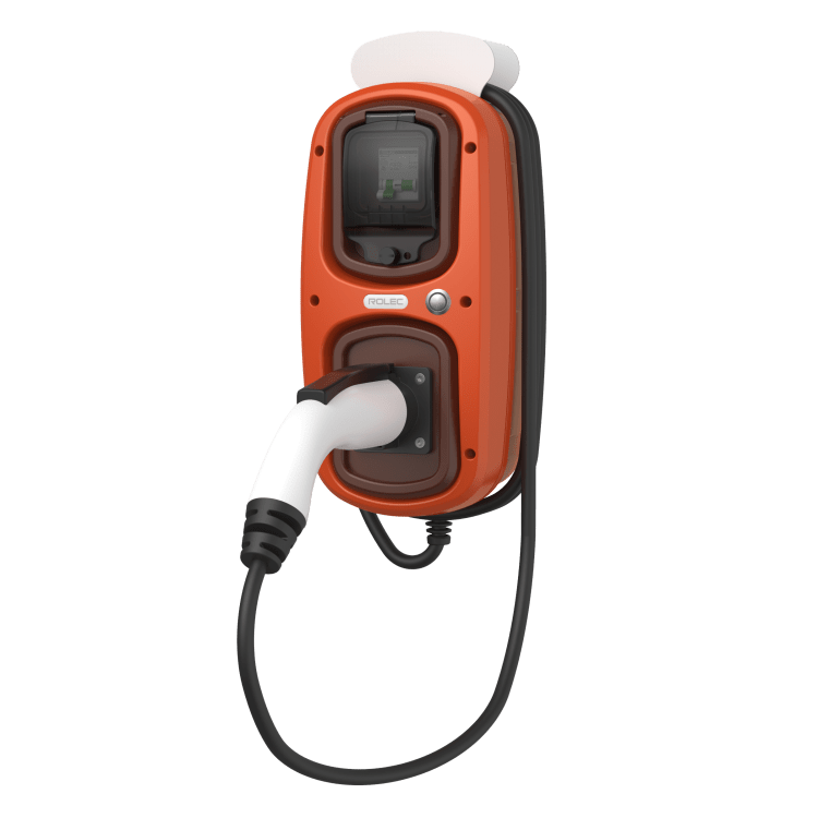 Rolec Wallpod EV tethered charger in terracotta