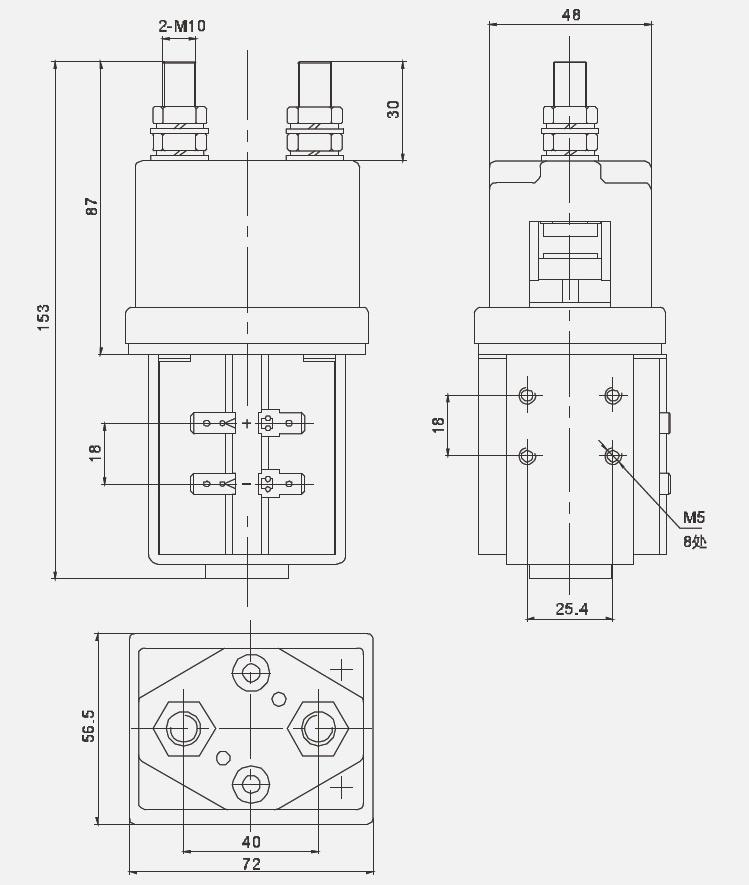 12V, 24V, 48V, 60V, 72V, 96V or 120V DC Coil 400-500A 60