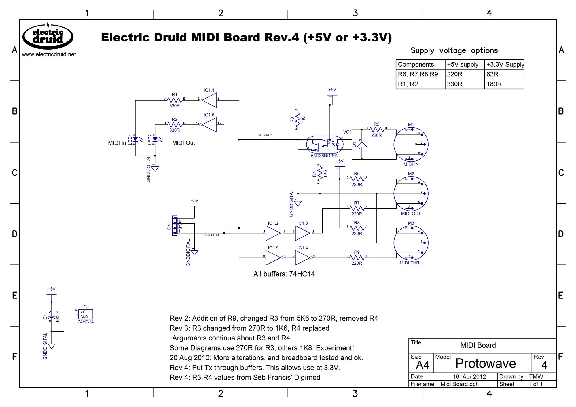 hight resolution of  druid midi pcb schematic diagram