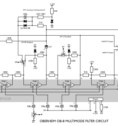 here s the full circuit diagram we can redraw that so we can easily see the two modes here s the ob 8 s 4 pole lowpass filter mode  [ 1440 x 890 Pixel ]