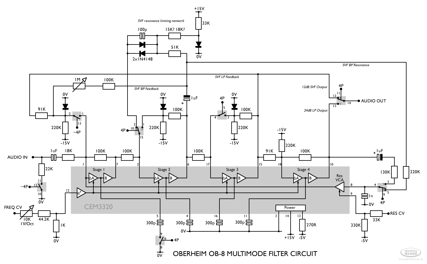 hight resolution of here s the full circuit diagram we can redraw that so we can easily see the two modes here s the ob 8 s 4 pole lowpass filter mode