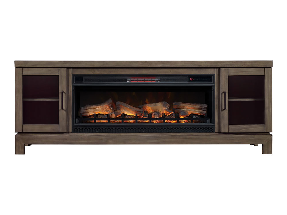 "Infrared Fireplace Inserts Berkeley 76"" Cabinet Spanish Gray & 42"" Linear Firebox"