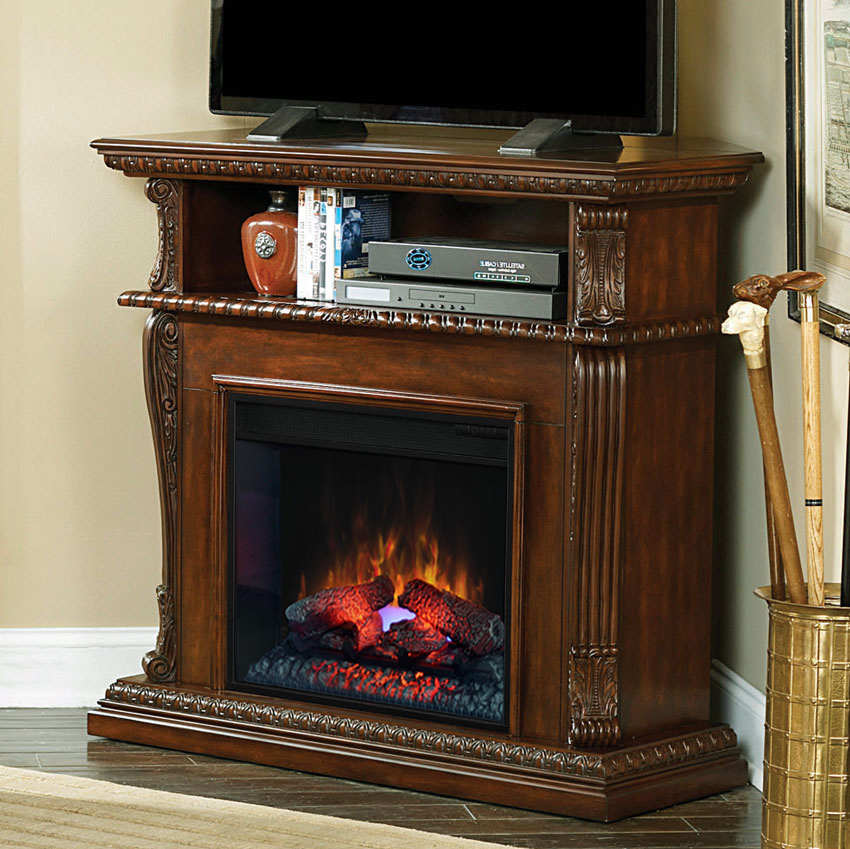 "Corner Electric Fireplace With Mantel Corinth 23"" Burnished Walnut Electric Fireplace Cabinet"