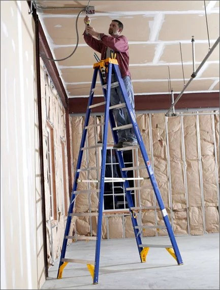 electrician apprentice on ladder