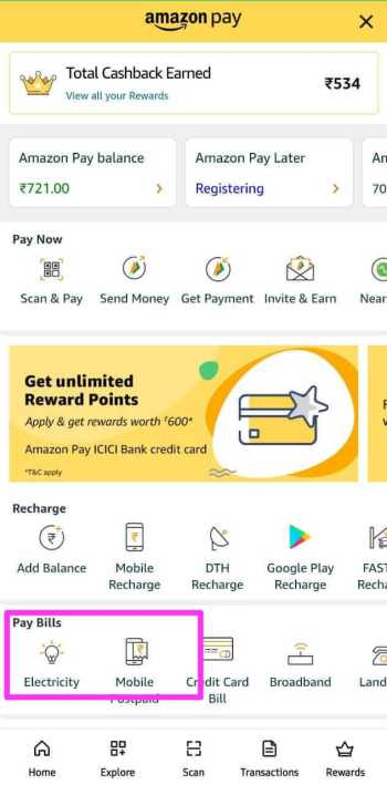 Electricity Bill Payment Through Amazon