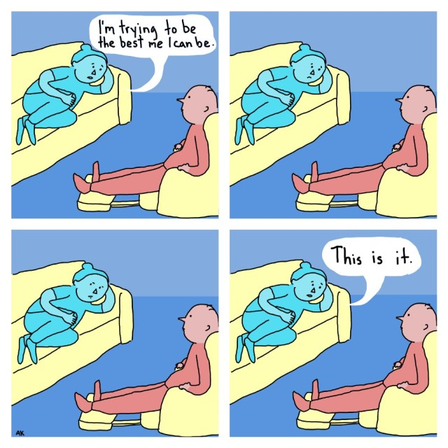 Upper left panel: Patient, light blue: I'm trying to be the best me I can beUpper right panel: Psychiatrist, light red: *listening* Patient: *silent* Lower left panel:Psychiatrist: *listening* Patient: *silent* Lower right panel:Patient: That is it.