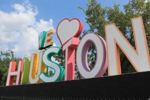 "Sign reading ""We Love Houston"""