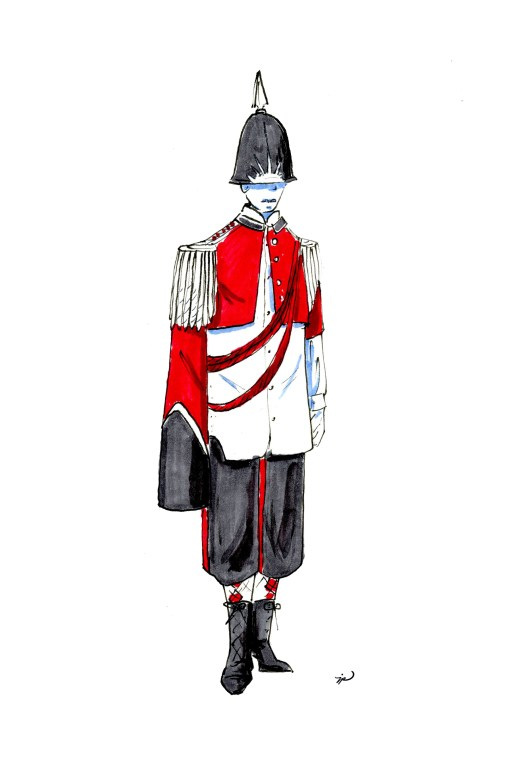 Fashion illustration of a thin white man who could very plausibly be Benedict Cumberbatch wearing an ornate 19th-century military uniform