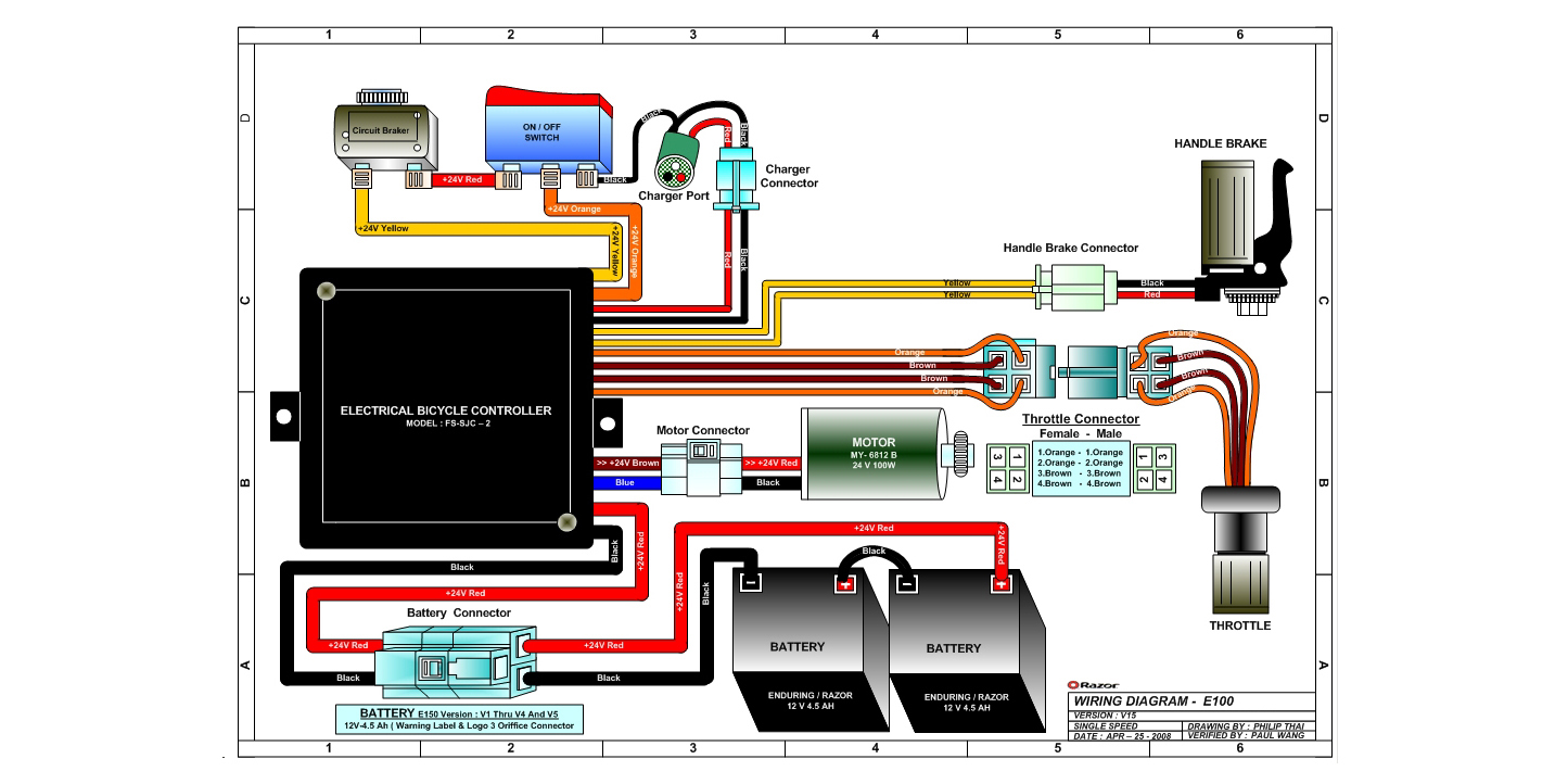 razor e150 wiring diagram 4 pin rectifier e100 and e125 electric scooter parts - electricscooterparts.com