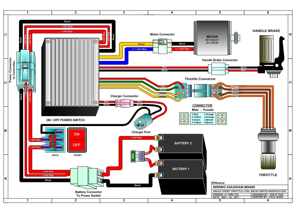 electric scooter throttle wiring diagram motherboard components razor mx400 dirt rocket bike parts - electricscooterparts.com