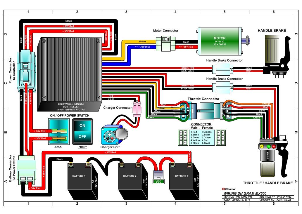36v battery wiring diagram 2000 jeep cherokee headlight switch razor mx500 dirt rocket electric bike parts version 13 16