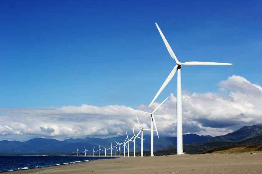 Modern wind farm on a beach