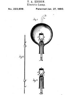 Патент Томаса А. Эдисона на электрическую лампу