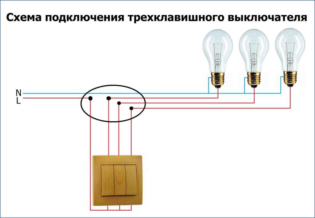 Bağlantı şeması üç blok anahtarı