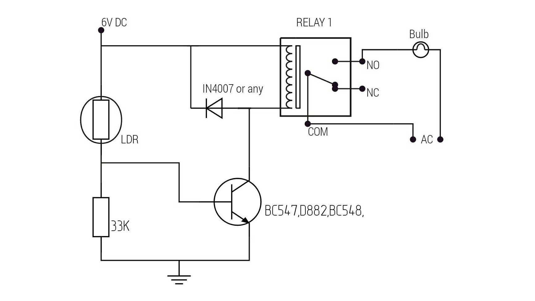 Automatic light with ldr circuit diagram.