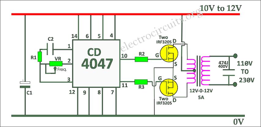 CD4047 inverter circuit