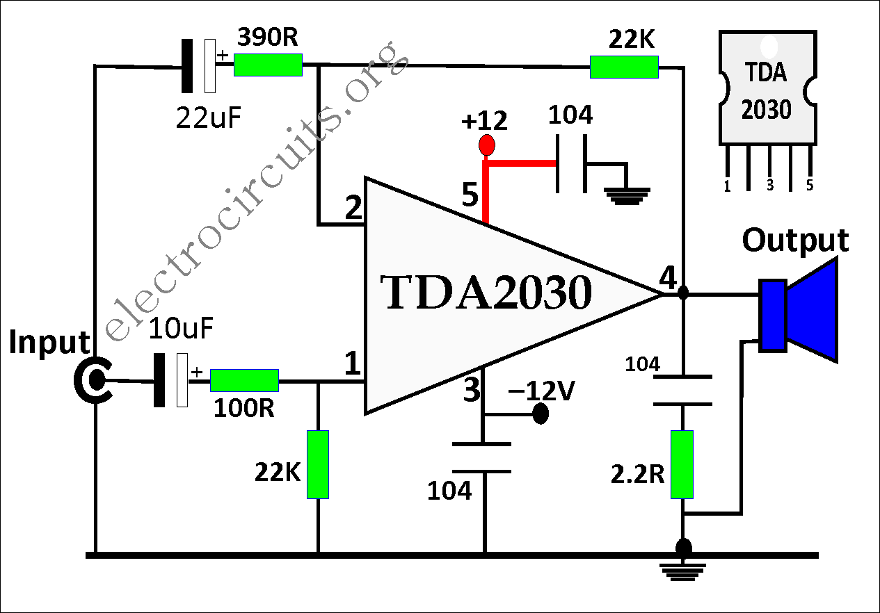 TDA2030 Amplifier Circuit Diagram » Electronics and Circuits