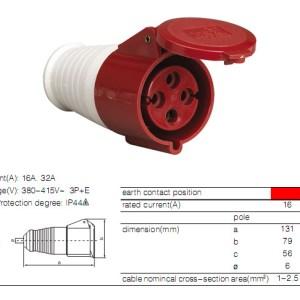 ENCHUFE INDUSTRIAL HEMBRA PROLONGABLE 4X16 380V TYPE: 214