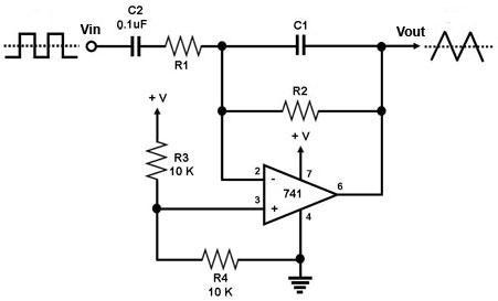 Integrator Circuit Using Op Amp