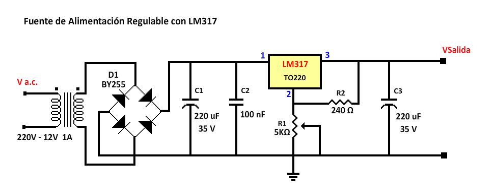 Fuente de alimentación regulable con LM317