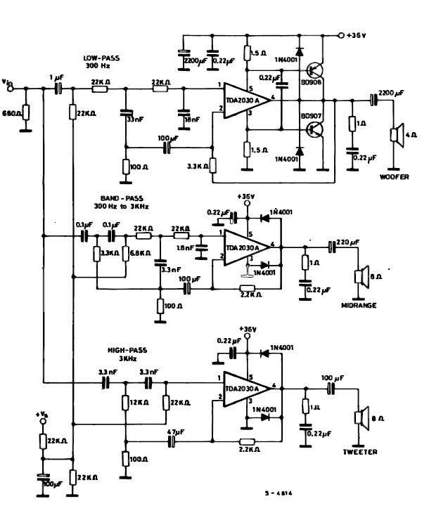 TDA2030 active speaker audio systems circuit with 60 watt