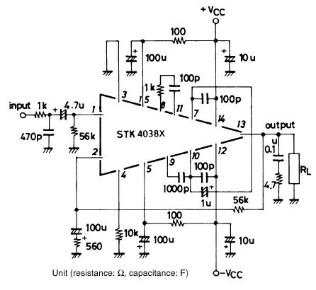 STK4038 60 watt audio amplifier circuit electronic project