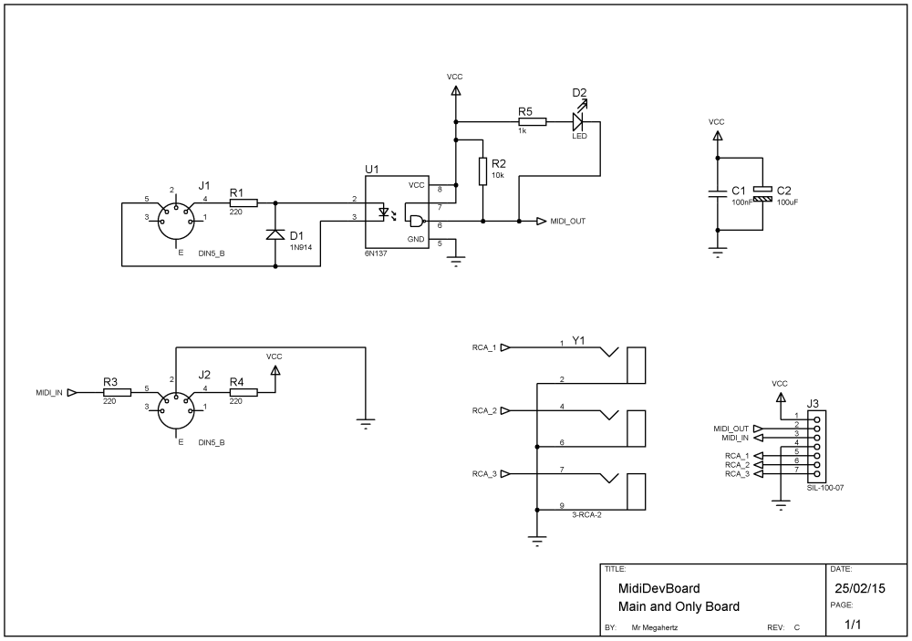 medium resolution of  small midi development board electronic fields on rca jack wiring rca jack connector diagram