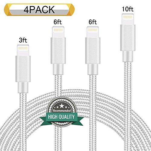 Youer Lightning Cable 4Pack 3FT 6FT 6FT 10FT Nylon Braided