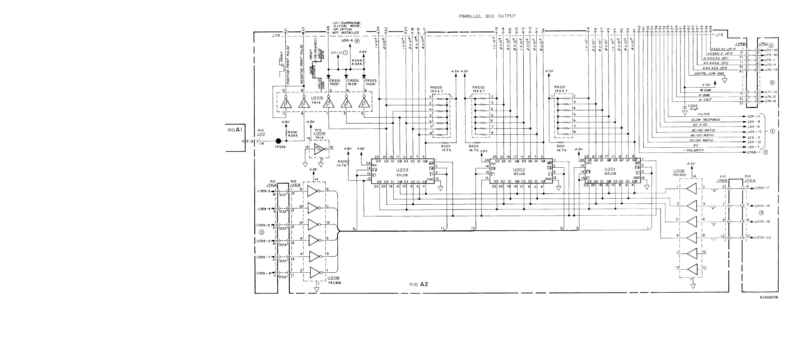 Figure FO-10. Parallel BCD Output (A2) Schematic Diagram