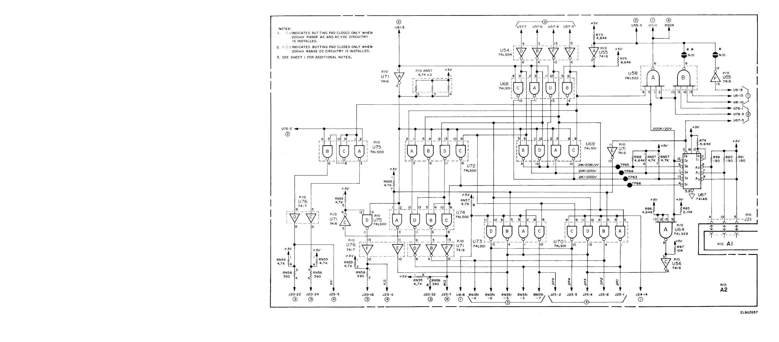 Figure FO-11. Range Encoder/DP Encoder Circuits (A2