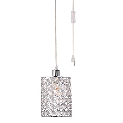 Globe Electric Amris 11″ 1-Light Plug-In Pendant, 15 Foot