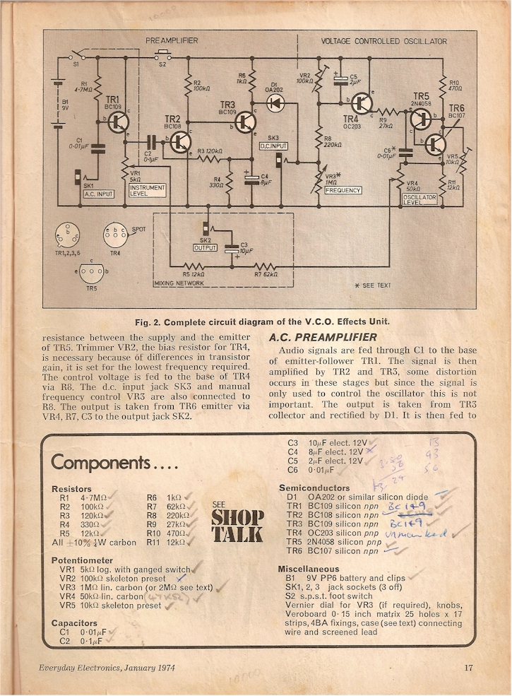 wiring diagram guitar pedal srs airbag 1974 vco effects unit circuit + instructions, diy | electronic musik