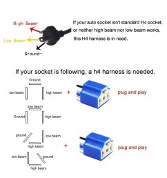 socket h4 wiring harness hb2 9003 pigtail heavy duty 14awg ceramic plug adapter [ 1000 x 1000 Pixel ]