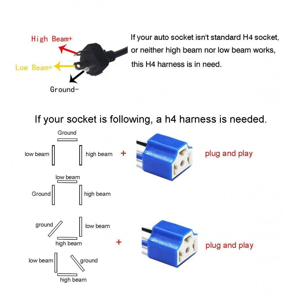 hight resolution of  socket h4 wiring harness hb2 9003 pigtail heavy duty 14awg ceramic plug adapter