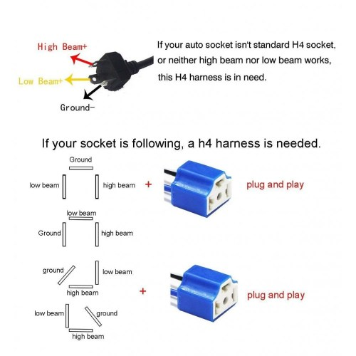 small resolution of  socket h4 wiring harness hb2 9003 pigtail heavy duty 14awg ceramic plug adapter