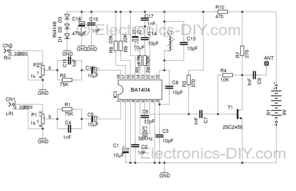 medium resolution of stereo fm transmitter with ba1404 fm stereo transmitter circuit schematic using ba1404 fm transmitter