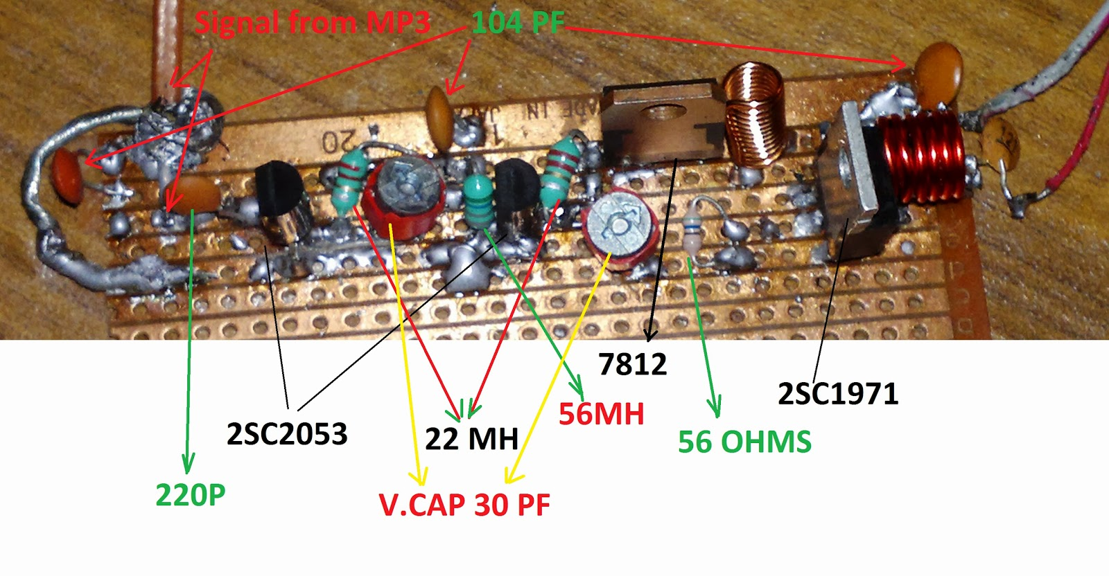 hight resolution of simple field strength meter circuit 6w fm transmitter