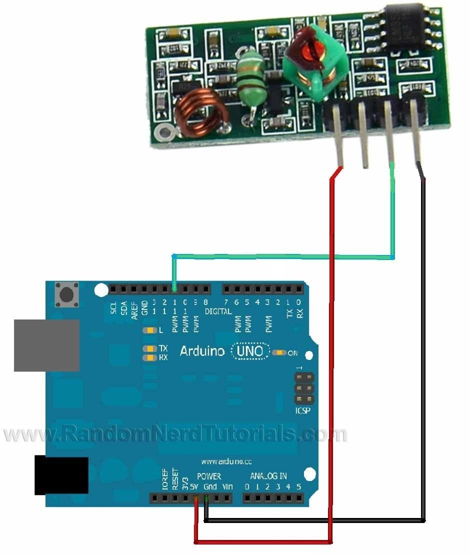 Analog Joystick Wiring Diagram Using Rf 433mhz Transmitter Receiver Modules With Arduino