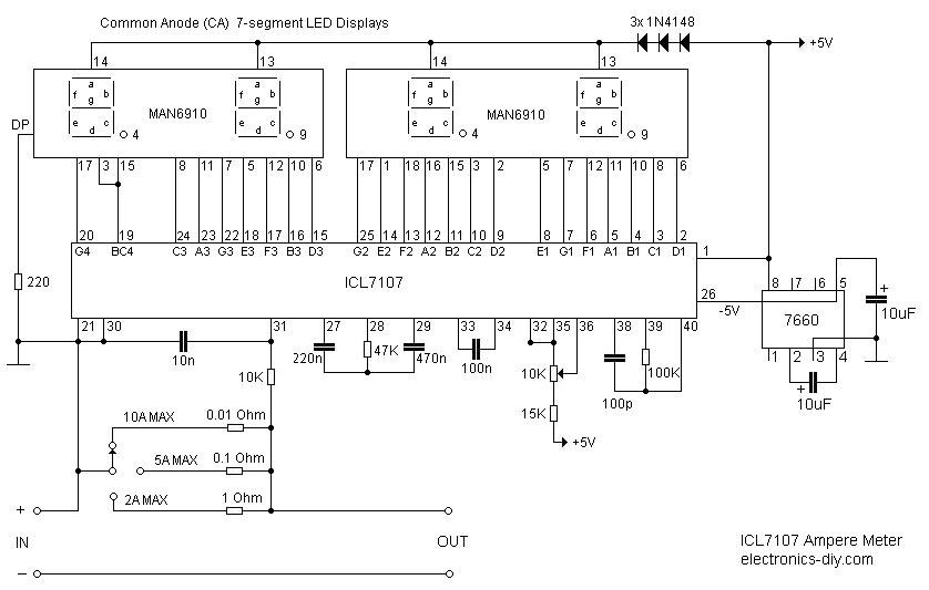 ICL7107 / ICL7106 Digital LED Ammeter (Ampere Meter)