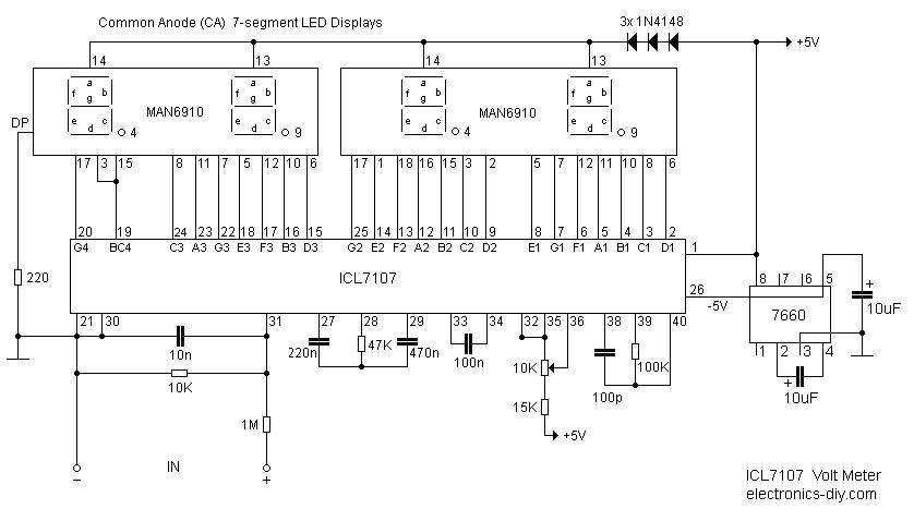 Diy Digital Voltmeter Circuit 3 digit digital voltmeter