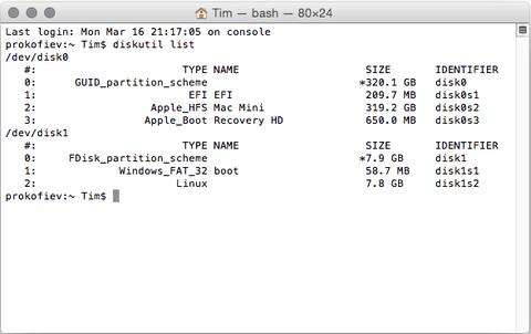 OSXالشكل(3):القيام بنسخ احتياطي لذاكرة الراسبيري باي الرقميّة باستخدام
