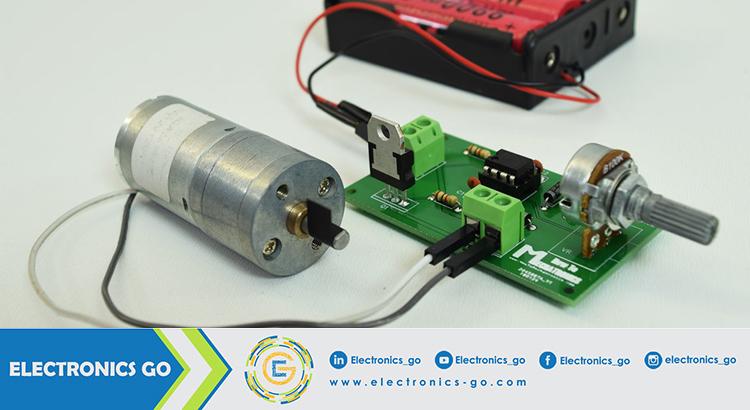 لتحكم في سرعة محرك تيار مستمر باستخدام إشارة PWM مولدة من الدارة المتكاملة 555 — Draft