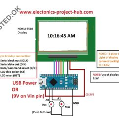circuit diagram for digital clock using nokia 5510 arduino clock without rtc [ 1024 x 908 Pixel ]