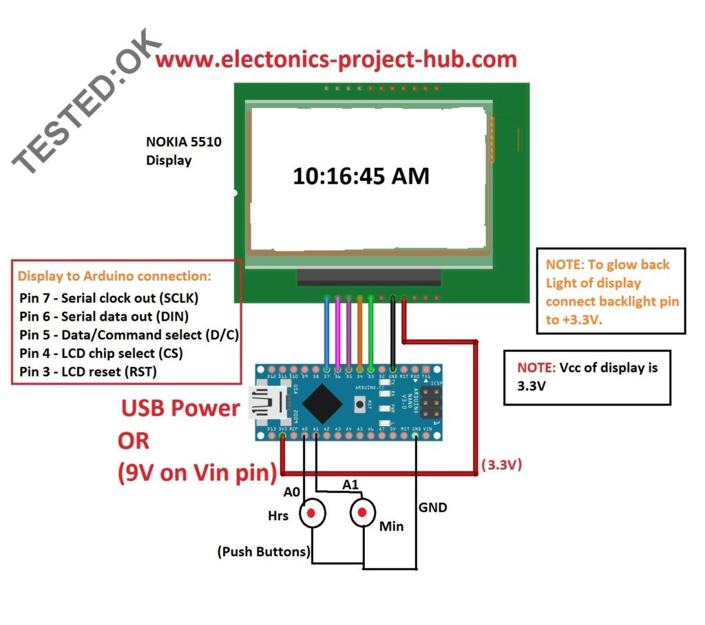hight resolution of circuit diagram for digital clock using nokia 5510 arduino clock without rtc