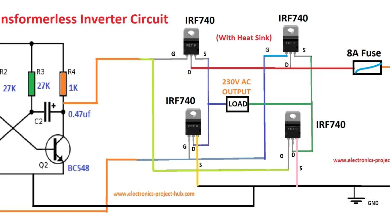 Simple Transformer-less Inverter Circuit