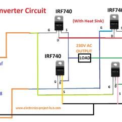 Dc To Ac Inverter Diagram Motor Rtd Wiring Simple Transformer Less Circuit  1000 Watt Diy
