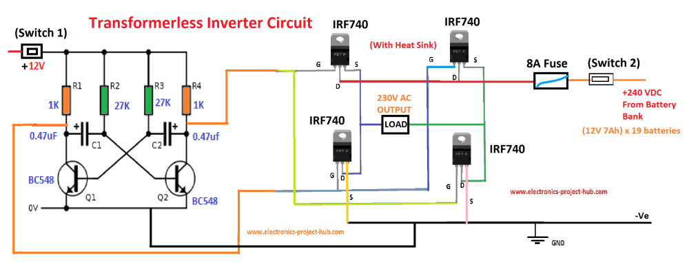 medium resolution of block diagram of transformer less inverter circuit